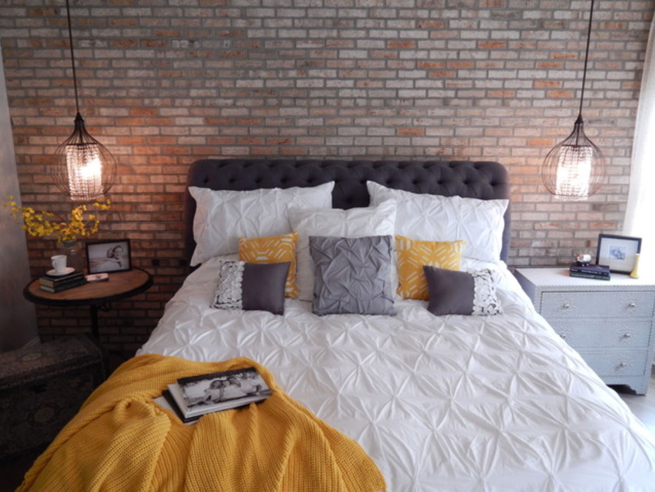 a bedroom gets an industrial chic makeover with the help of